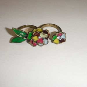 Jewelry - Colorful Floral Double  Fashion Ring